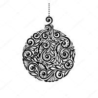 Black and White Christmas ball with a floral design ...