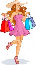 Beautiful Girl Shopping Cartoon