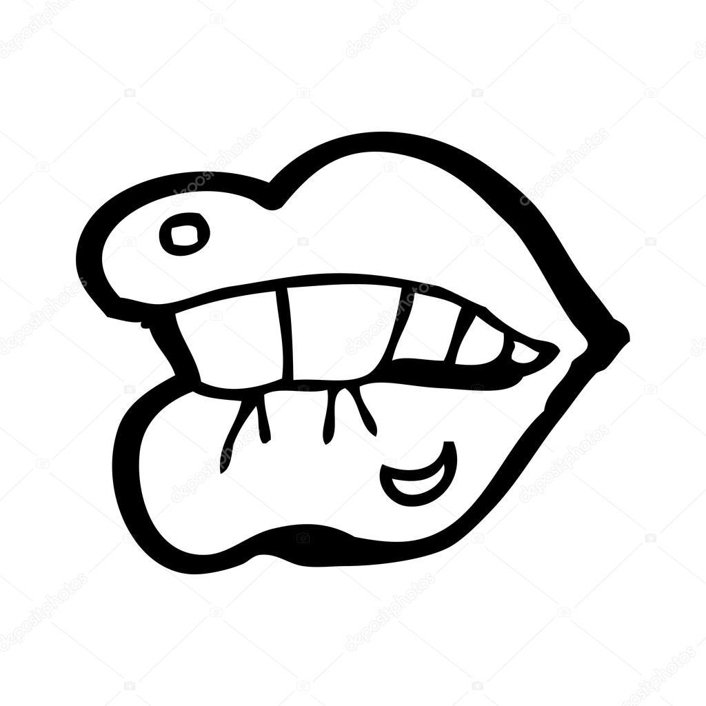 Bijten Lip Cartoon
