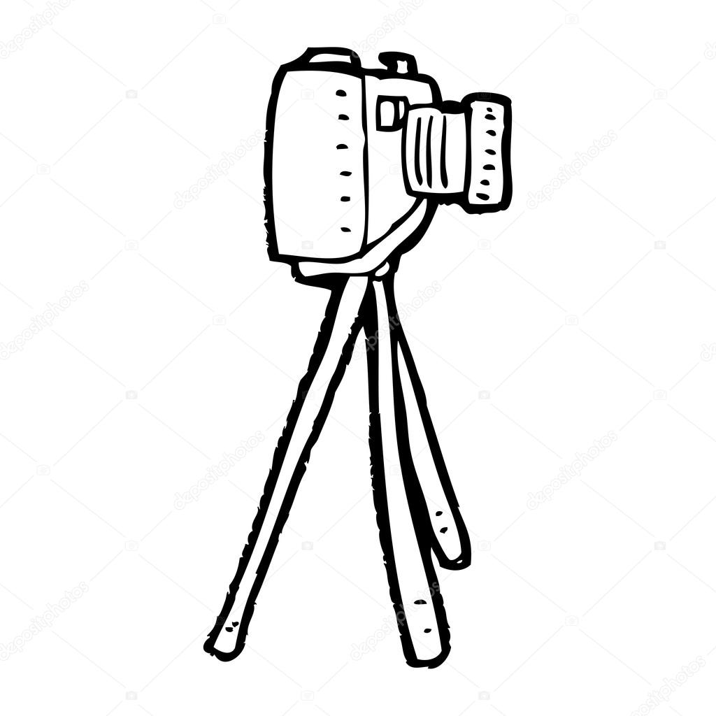 Camera on tripod cartoon — Stock Vector © lineartestpilot