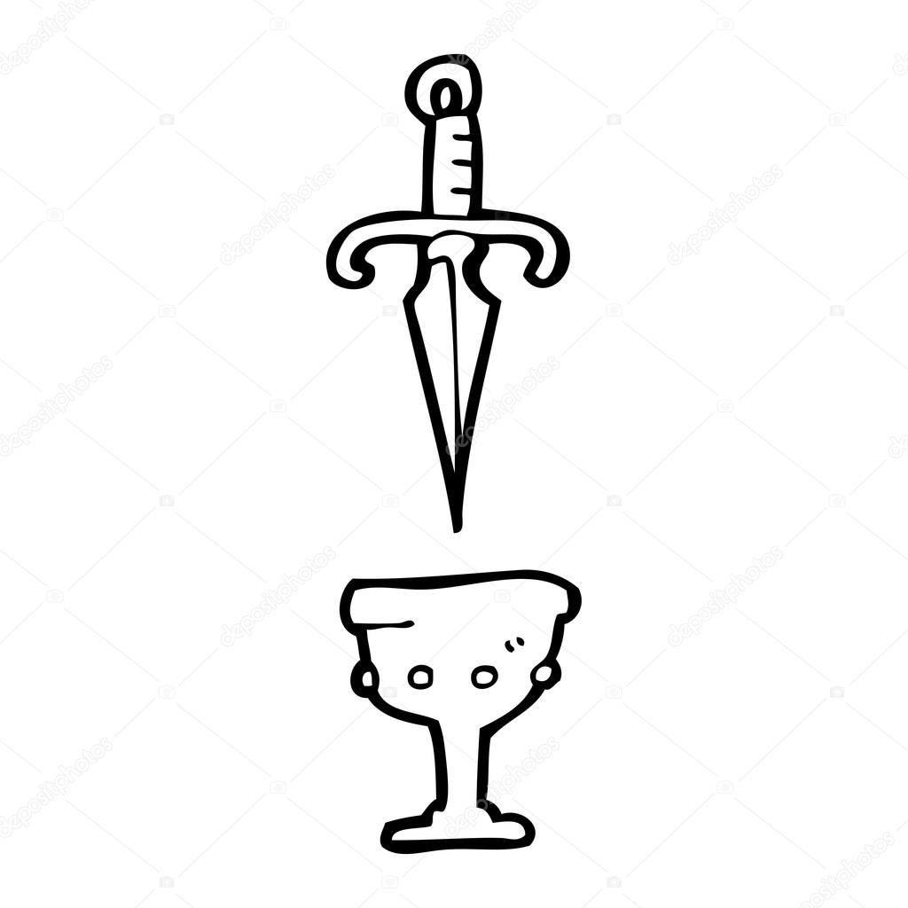 Symbolische Dolk En Graal Tekening