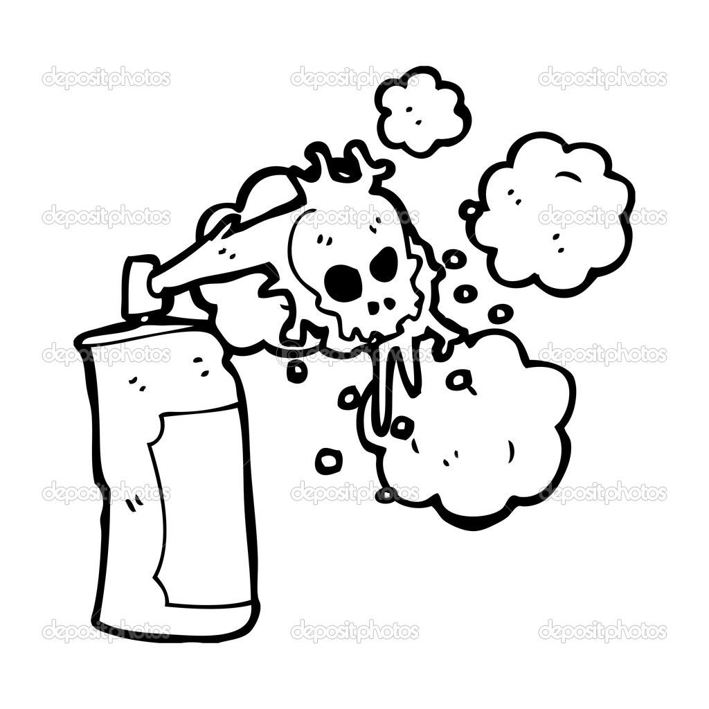 Spooky Skull Graffiti Spray Can