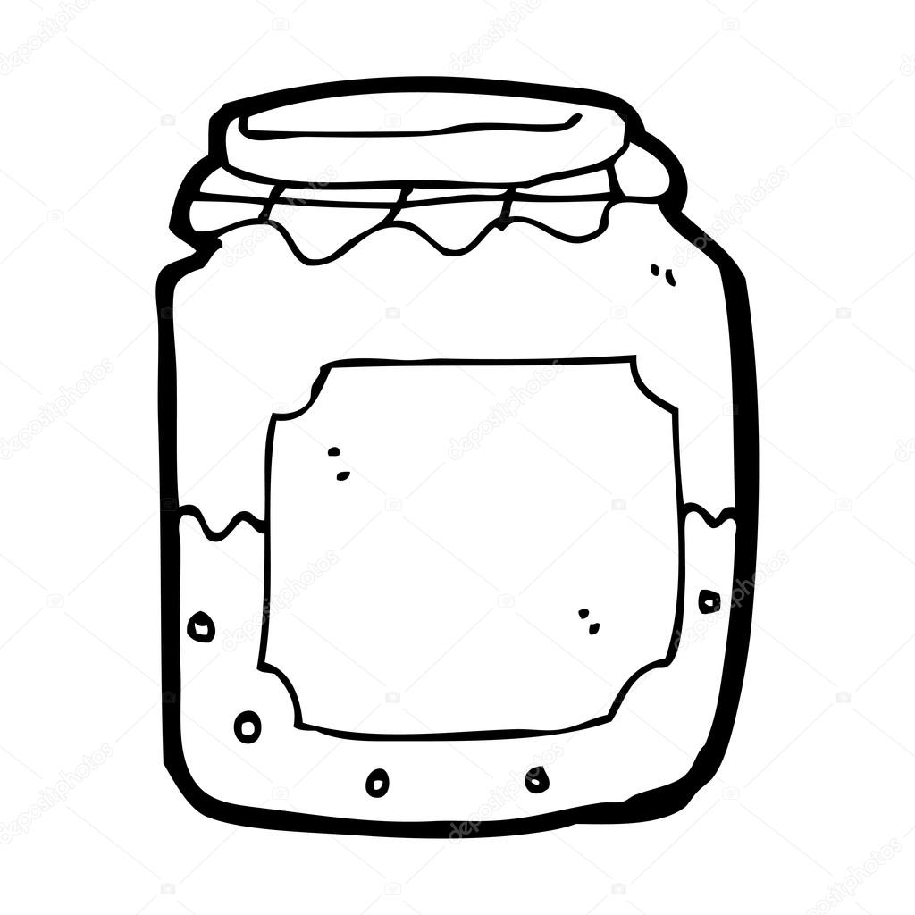 Cartoon Half Empty Jam Jar
