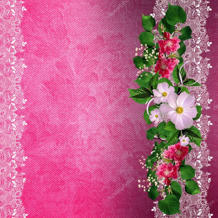 Romantic Wedding Invitation Card Design Flower Pattern Pink Background Eps Vector Material Deoci Greeting Free