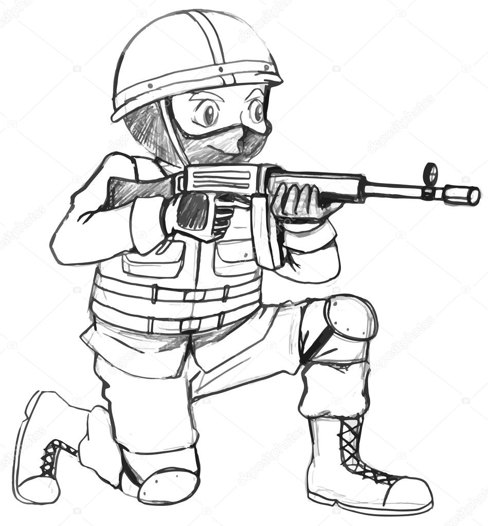 A sketch of a soldier with a gun — Stock Vector