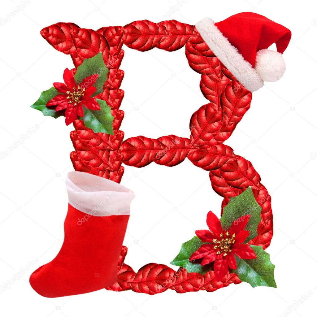 Christmas Letter B With Santa Claus Cap One Part Of Great