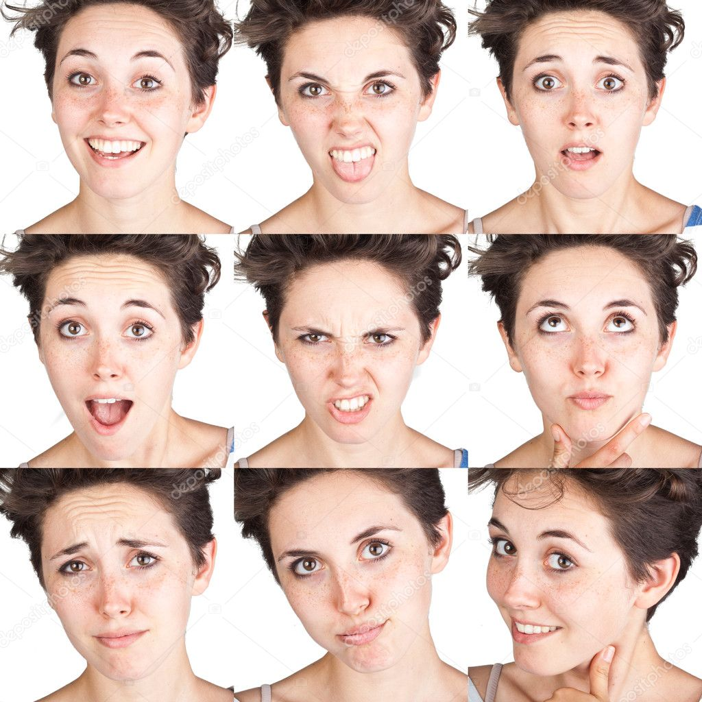 Teen Girl Emotional Attractive Set Make Faces Isolated On