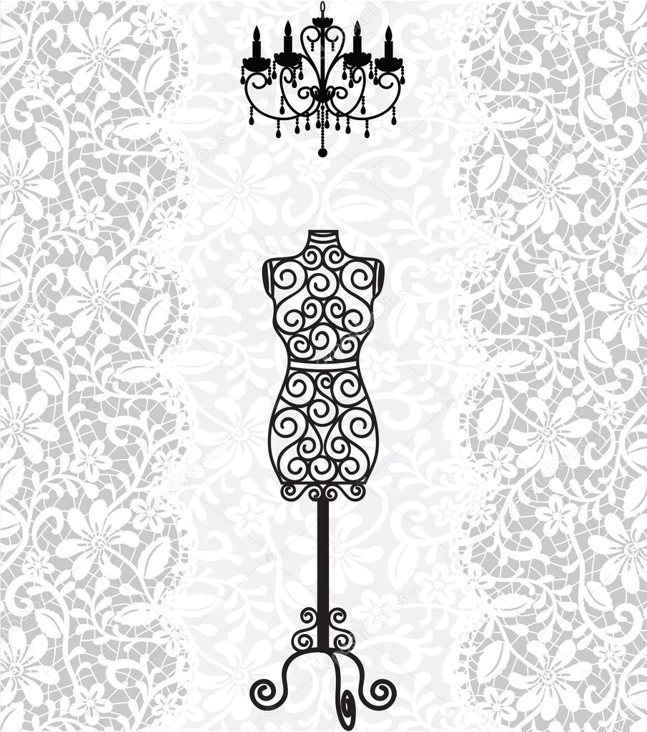 Mannequin and chandelier on lace background — Stock Vector