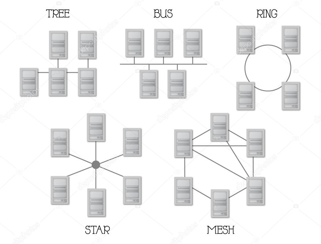 physical topology diagram 1992 toyota truck wiring netzwerktopologie  stockvektor maugli23 14348561