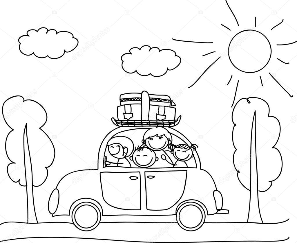 Familia feliz va de vacaciones por colorear coche, blanco