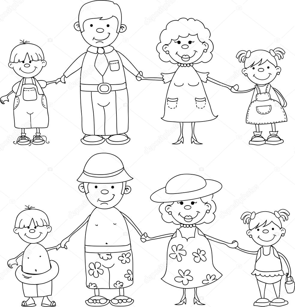 Happy family holding hands , black and white coloring