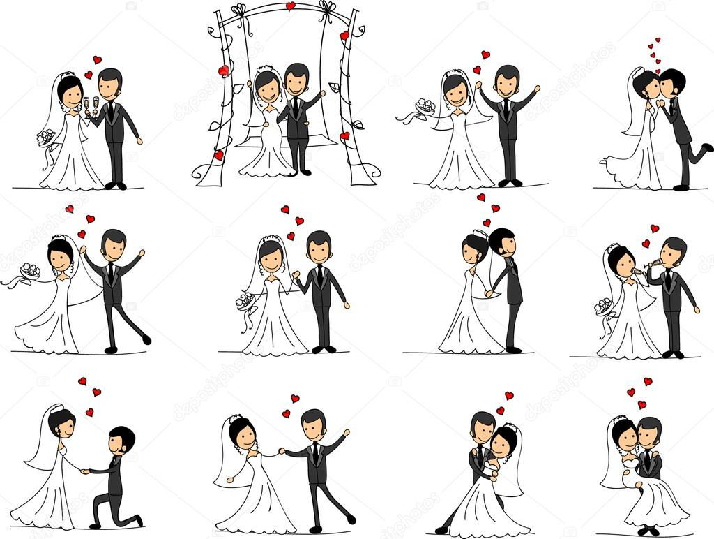 Set Of Wedding Pictures Bride And Groom In Love The