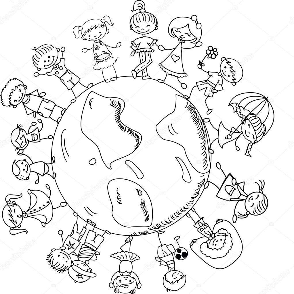People Around The World Coloring Sheet Coloring Pages