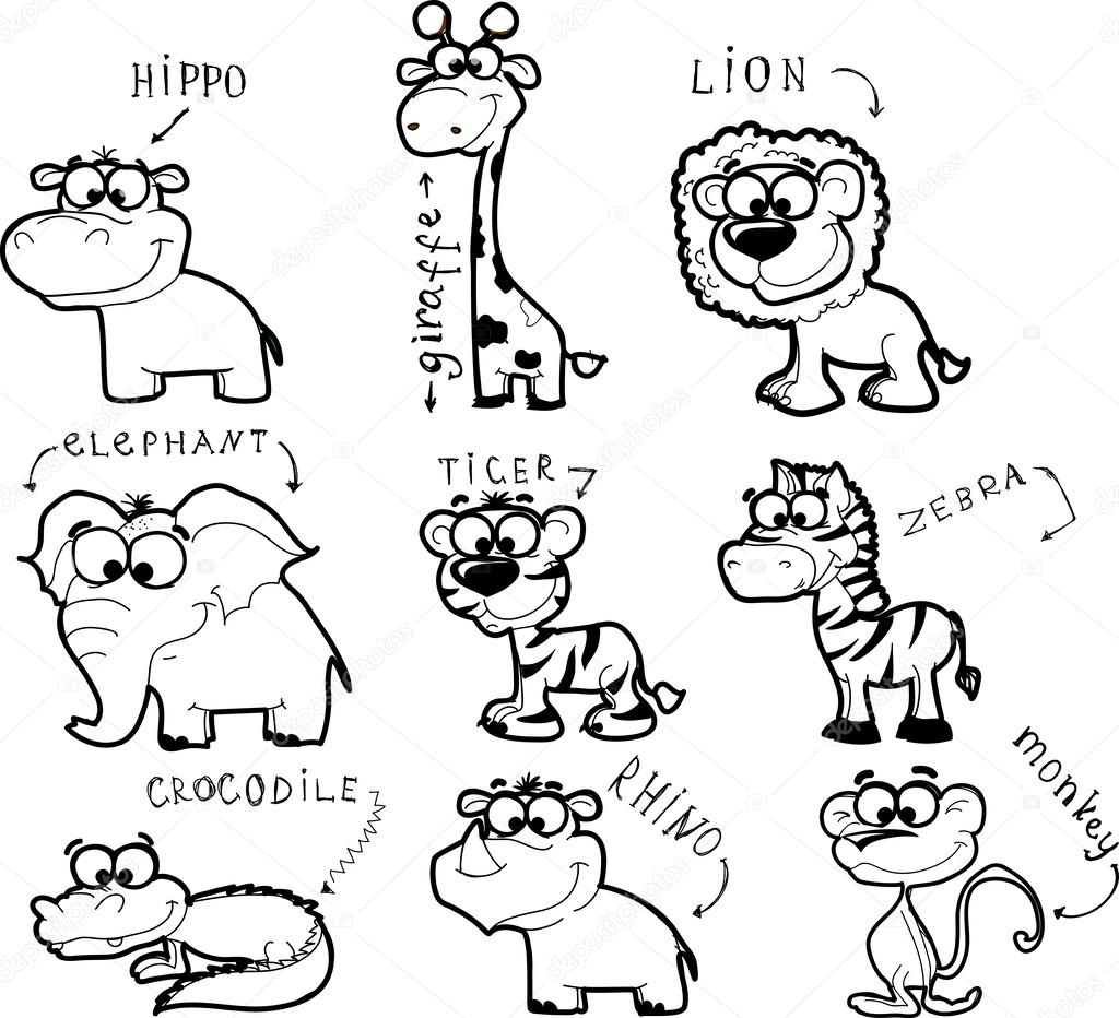Big Set Of Cartoon Black And White Animals