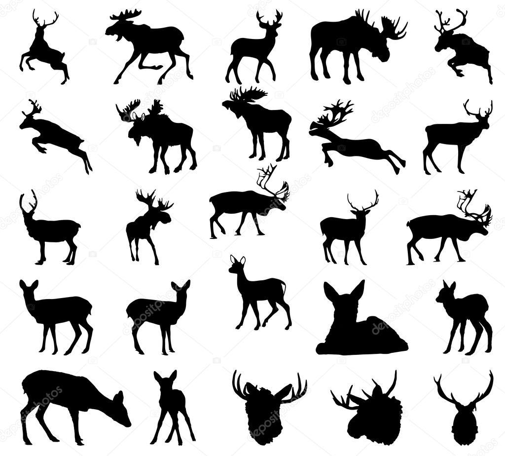 Moose Deer Reindeer Silhouette Vector