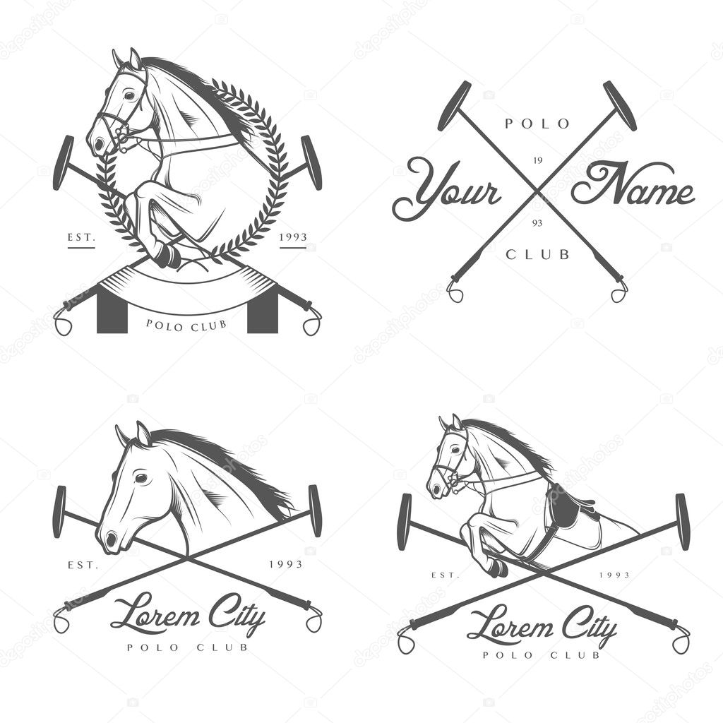 Set Of Horse Polo Club Labels And Badges