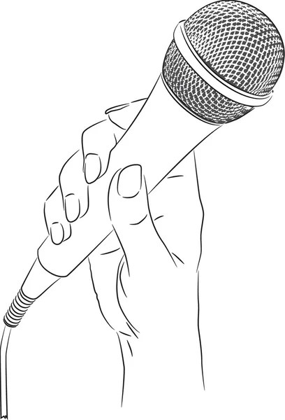 Vector drawing of a hand holding a microphone — Stock