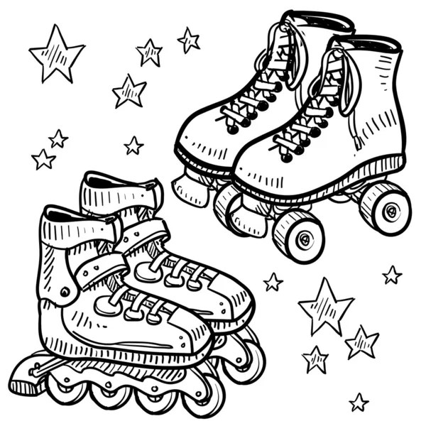 Rollerskates and rollerblades sketch — Stock Vector