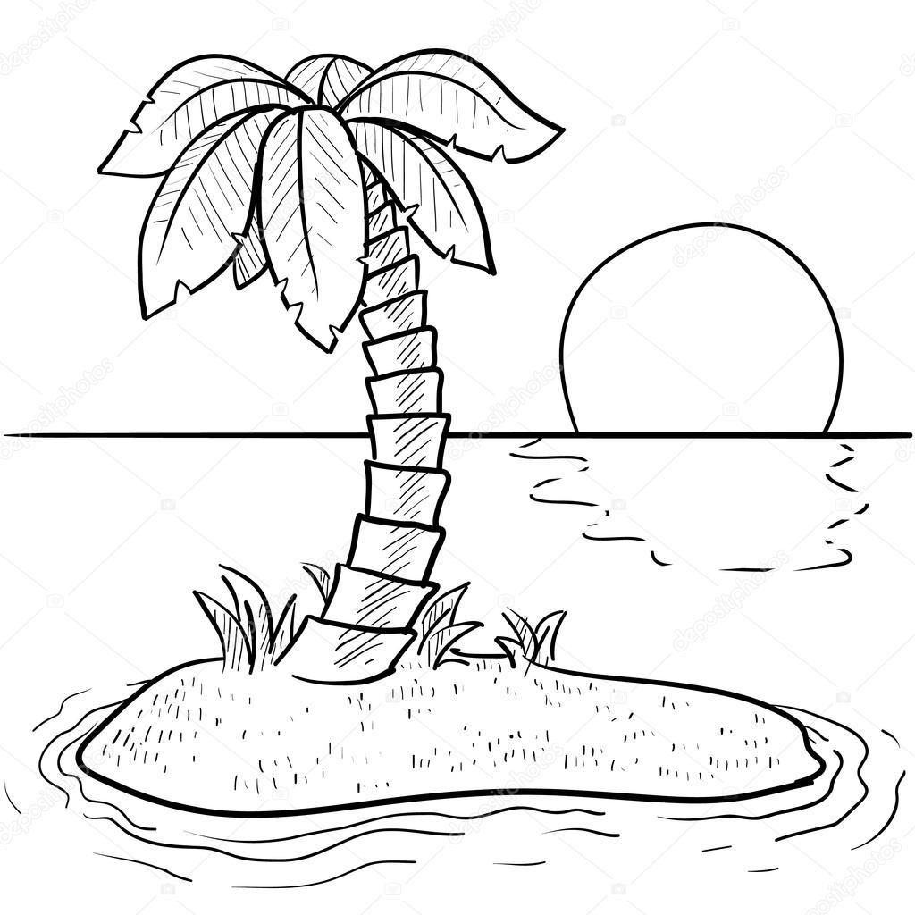 Deserted island sketch — Stock Vector © lhfgraphics #13892938