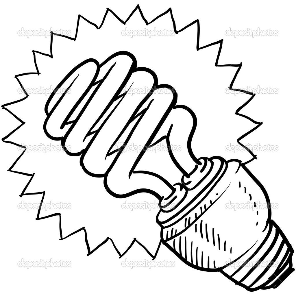 Compact Fluorescent Light Bulb Sketch