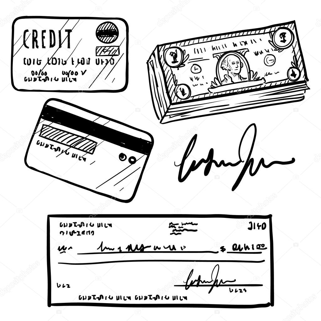Personal finance objects sketch — Stock Vector