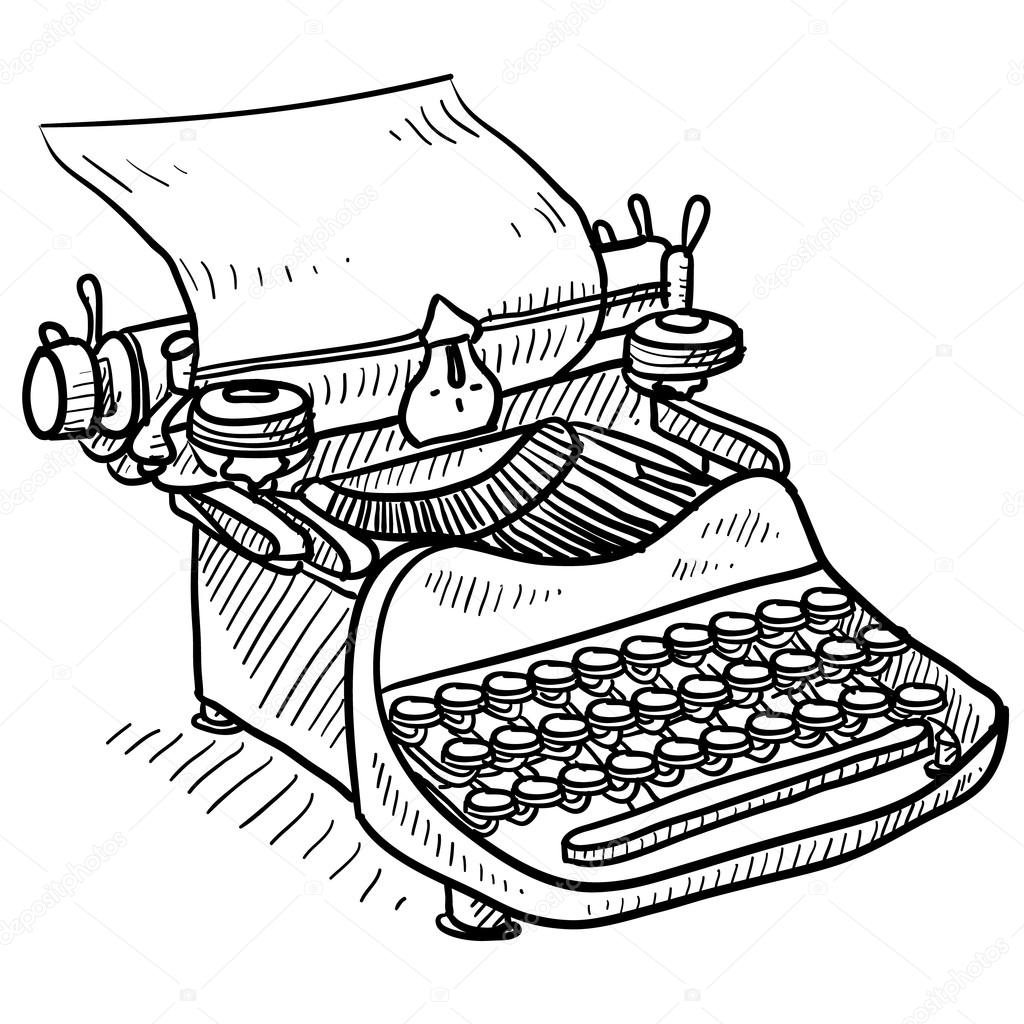 Retro manual typewriter sketch — Stock Vector