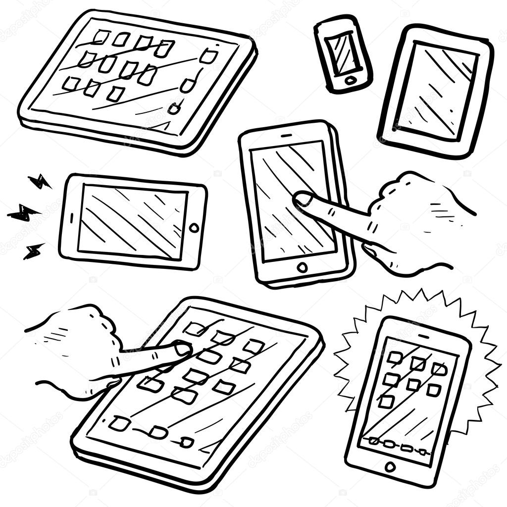 Mobile device and smartphone sketch — Stock Vector