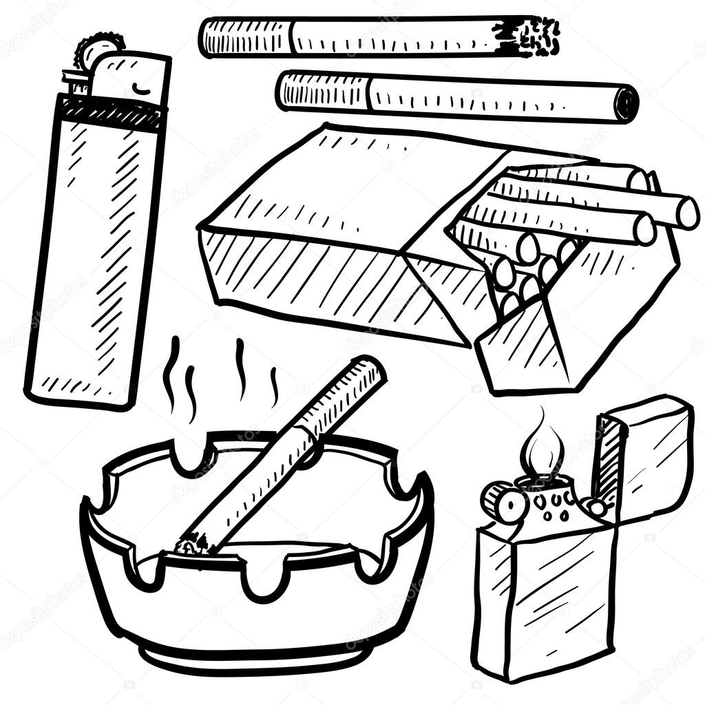 Cigarette Smoking Objects Sketch