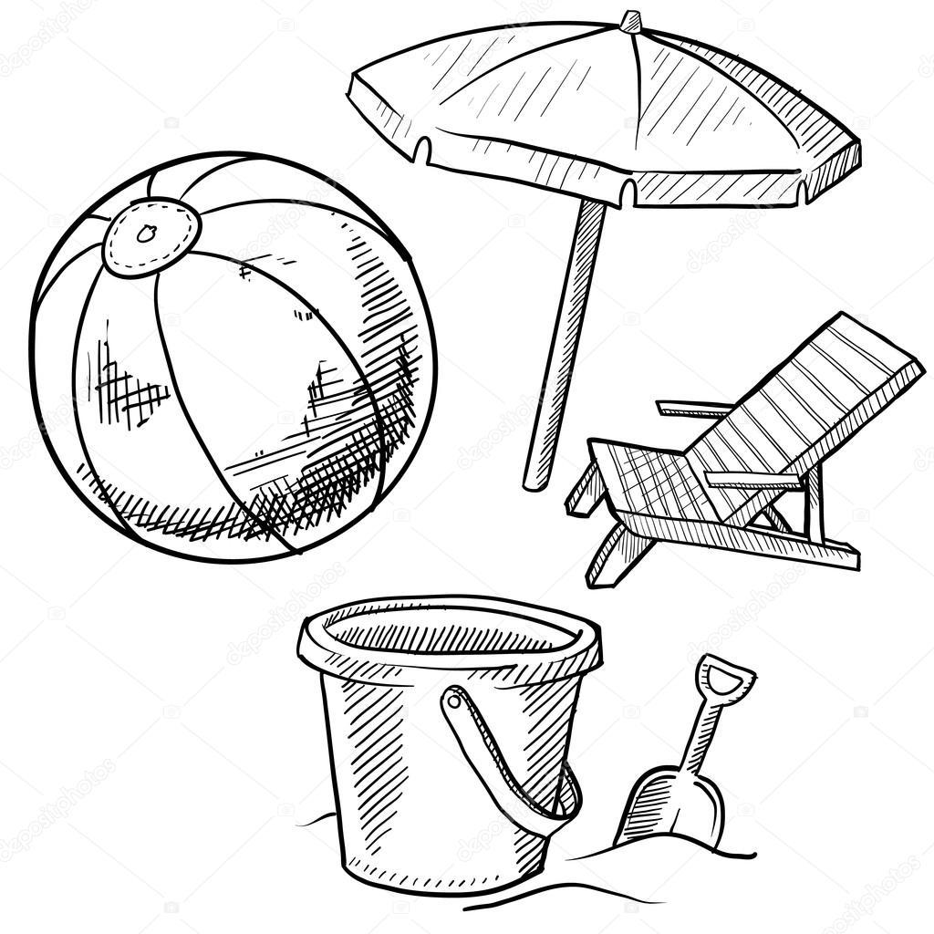 Beach Vacation Items Sketch