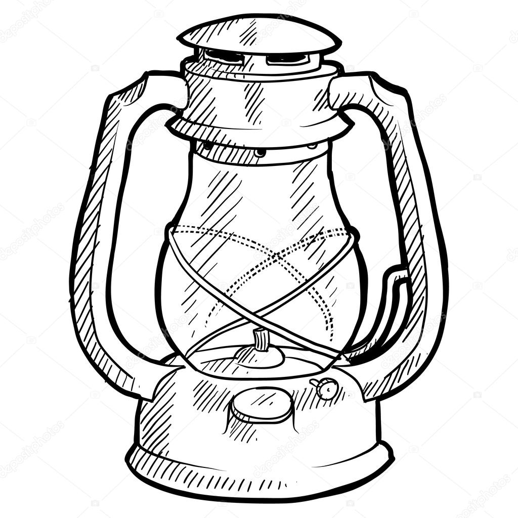 Retro camping lantern sketch — Stock Vector © lhfgraphics