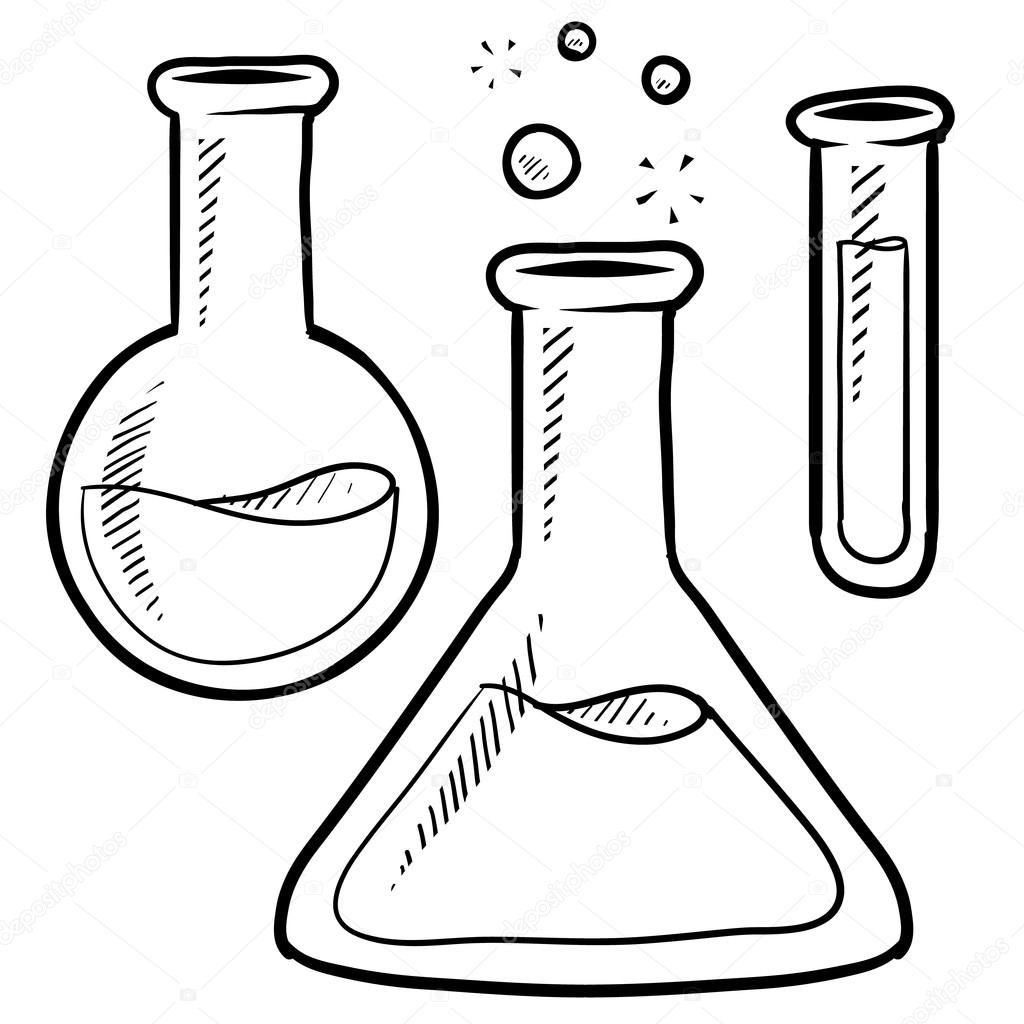 Science lab beakers and test tubes sketch — Stock Vector © lhfgraphics #13988075