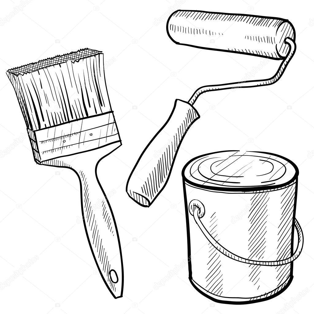 Desenho De Equipamento Do Pintor
