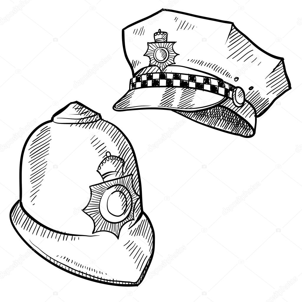 hight resolution of police hats sketch u2014 stock vector u00a9 lhfgraphics 14135208