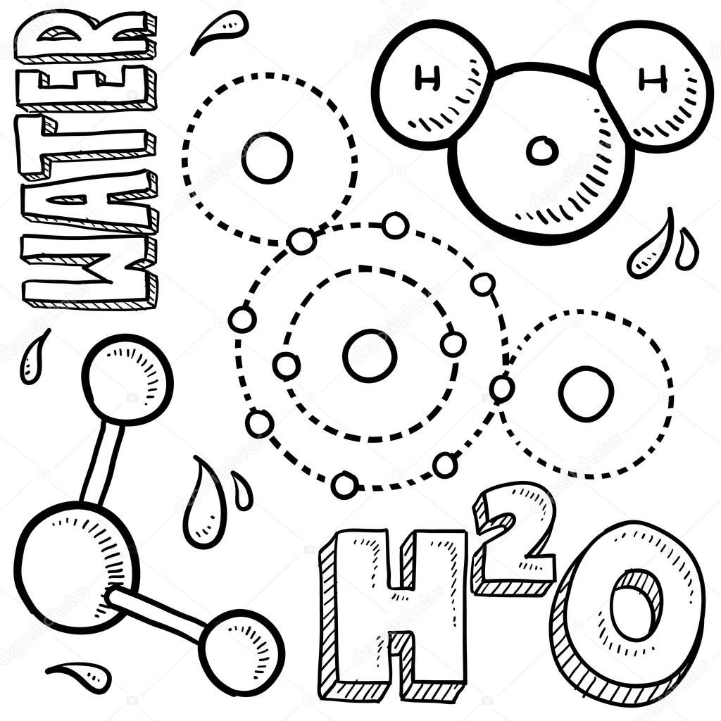 Water molecule sketch — Stock Vector © lhfgraphics #18320437