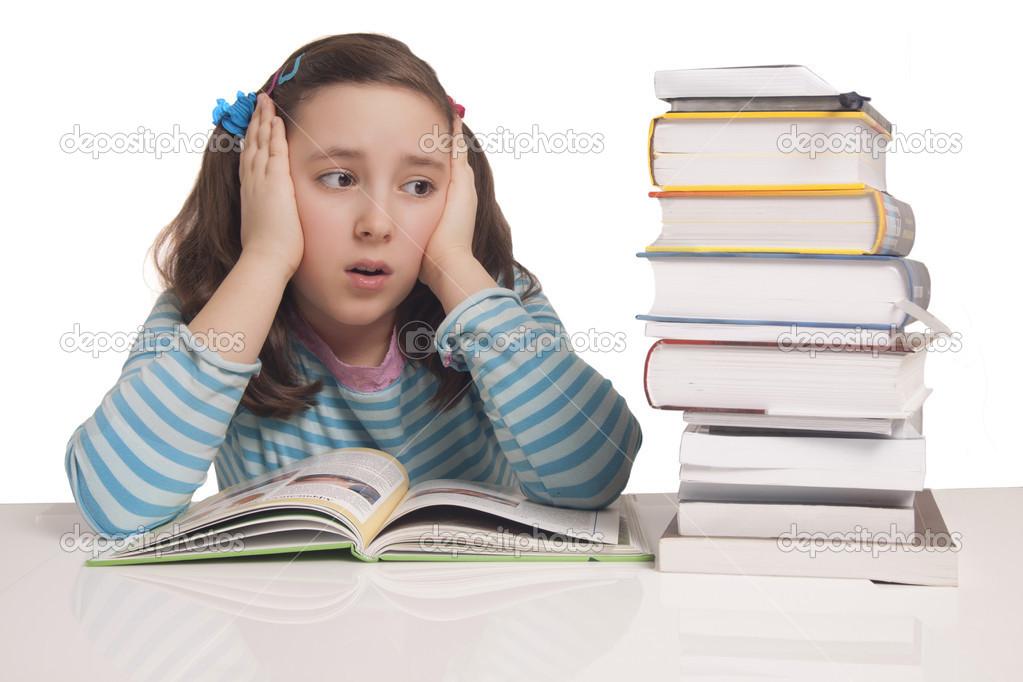 Beautiful girl having a lot of homework — Stock Photo ...