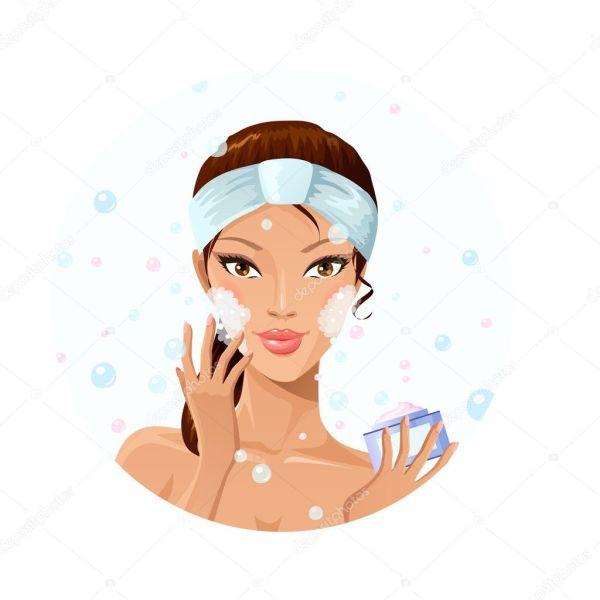 Beautiful Woman Washing Face Stock Vector Deedl #43201729