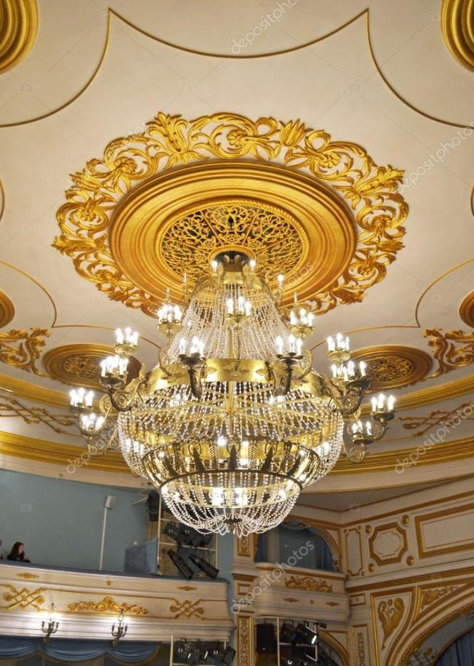 Crystal Chandelier And Gilded Stucco Moldings On The Ceiling Of Drama Theater In City Irkutsk Photo By Mors74