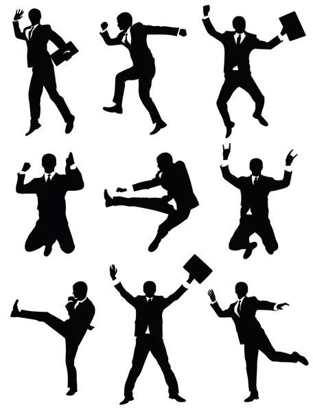 Eight businessman silhouettes — Stock Vector © katarinka