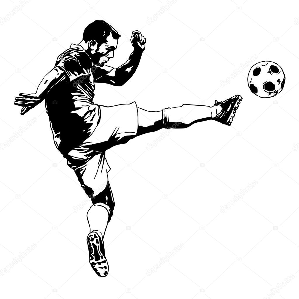 Football player with the ball. hand drawing. — Stock