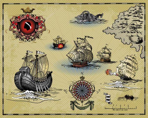 Antique Map Elements Stock Vector Pathique #17347019