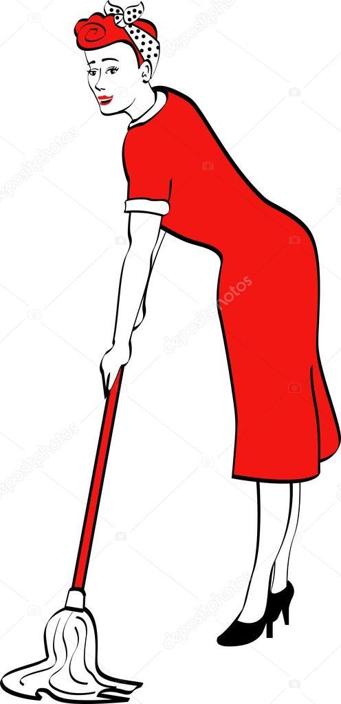 casalinga con lo straccio per pulire i pavimenti