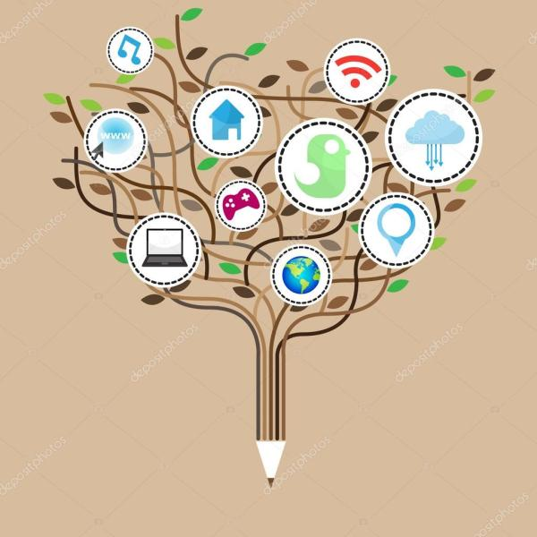 Social Network Education Concept Pencil Tree With