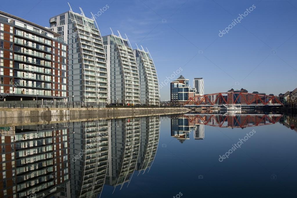 Salford Quays Manchester United Kingdom Stock Photo