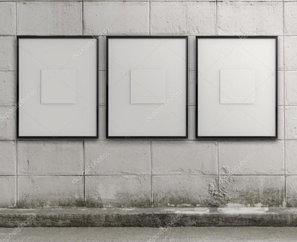 Empty Modern Style Frame Grunge Wall Stock