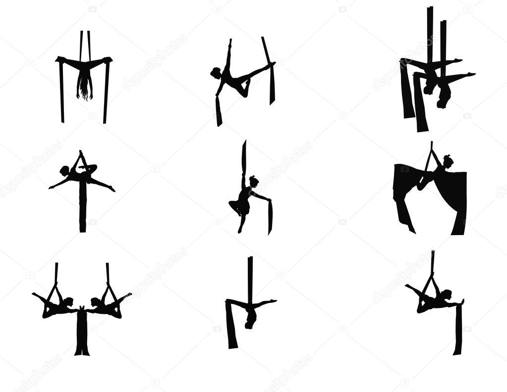 Aerial silk dancers in silhouette — Stock Vector