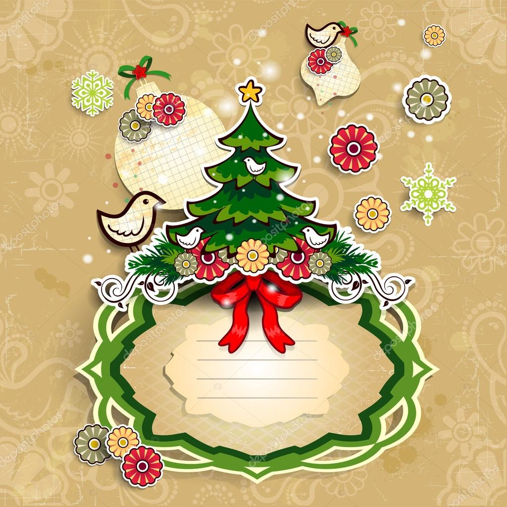 Christmas Tree On A Label On A Light Background Stock Vector C Iostephy 27668211