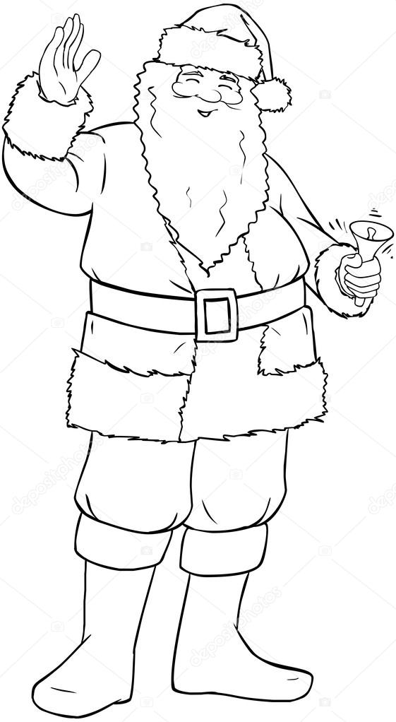 Santa Claus Holding Bell And Waving For Christmas Coloring