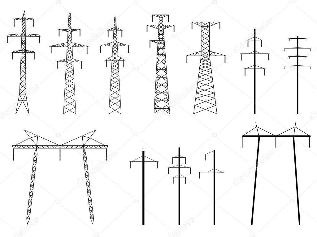 Set Of Vector Silhouettes Of Pylons Power Line