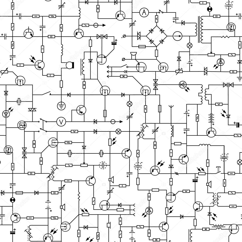 seamless background of electrical circuit board stock photography
