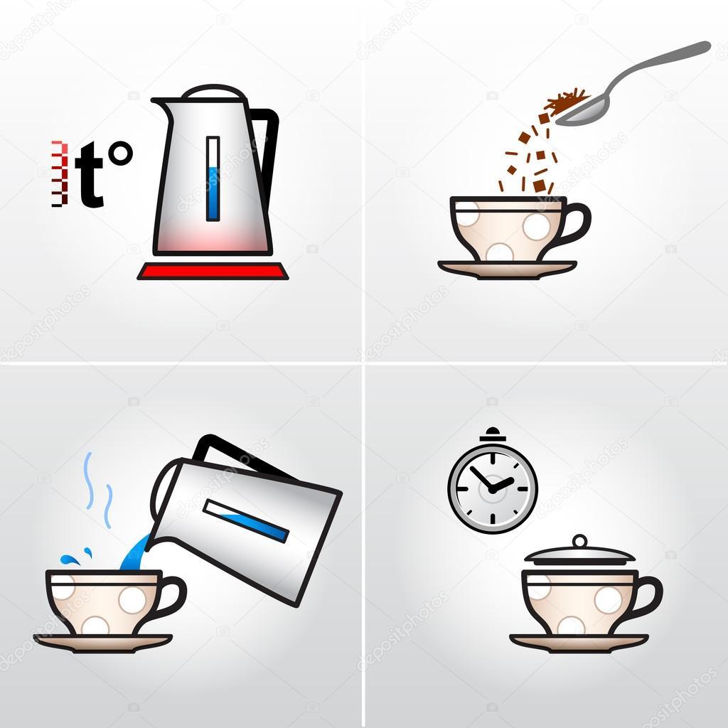 Icono Para El Proceso De Elaboracion De Te Cafe Etc